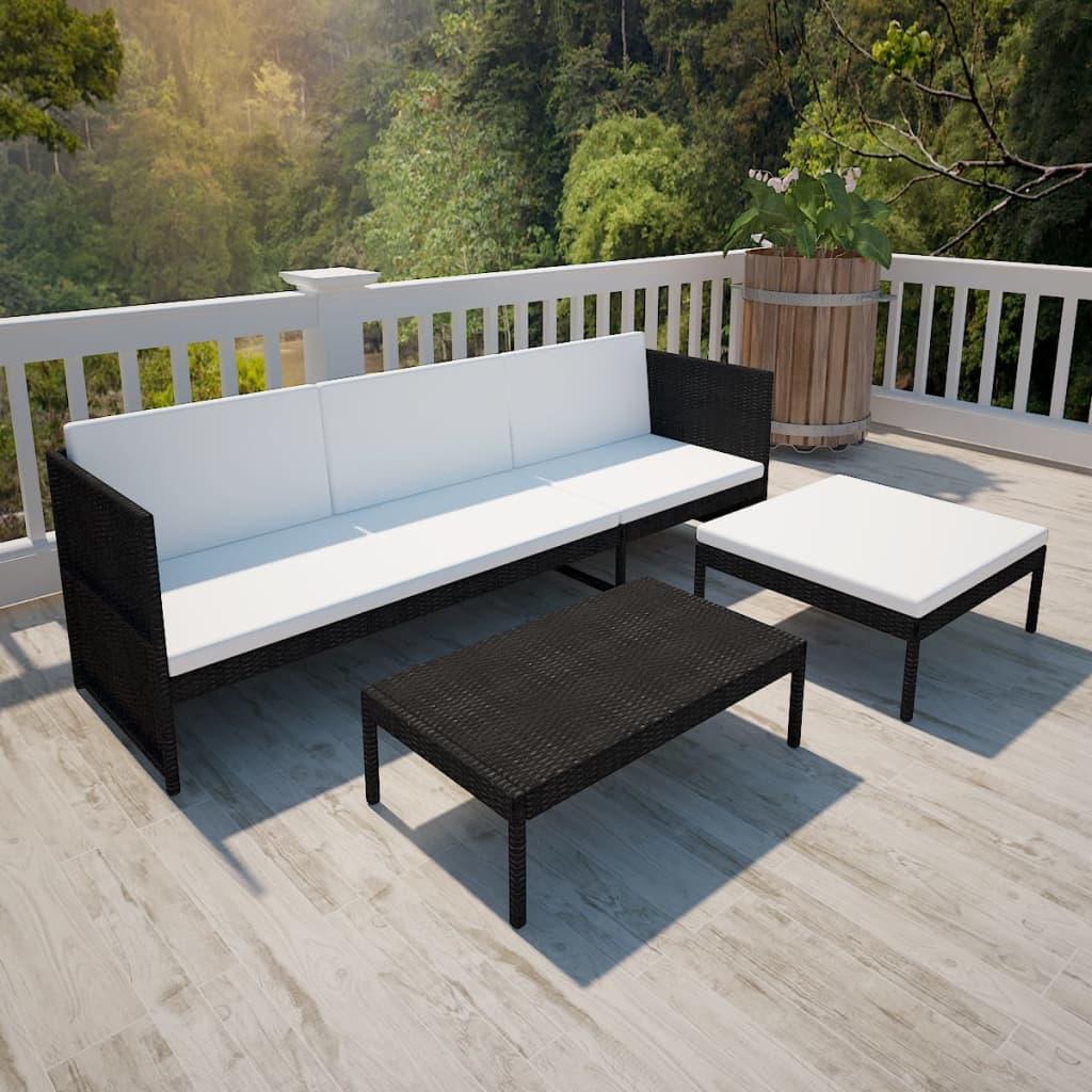 poly rattan gartenm bel lounge set 3 sitzer schwarz g nstig kaufen. Black Bedroom Furniture Sets. Home Design Ideas