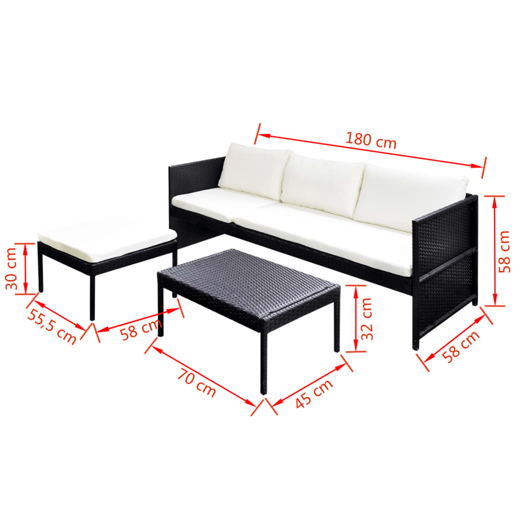 poly rattan gartenm bel lounge set 3 sitzer schwarz zum. Black Bedroom Furniture Sets. Home Design Ideas