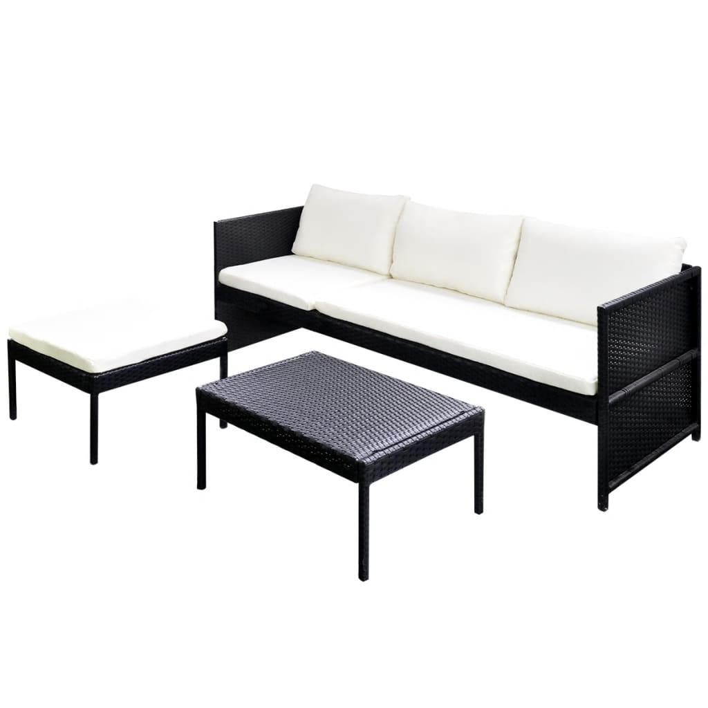 poly rattan gartenm bel lounge set 3 sitzer schwarz. Black Bedroom Furniture Sets. Home Design Ideas