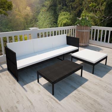 vidaXL Black Outdoor Poly Rattan Lounge Set Three-Seat Sofa[6/7]