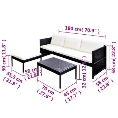 vidaXL Black Outdoor Poly Rattan Lounge Set Three-Seat Sofa[7/7]