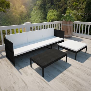 vidaXL Black Outdoor Poly Rattan Lounge Set Three-Seat Sofa[3/7]