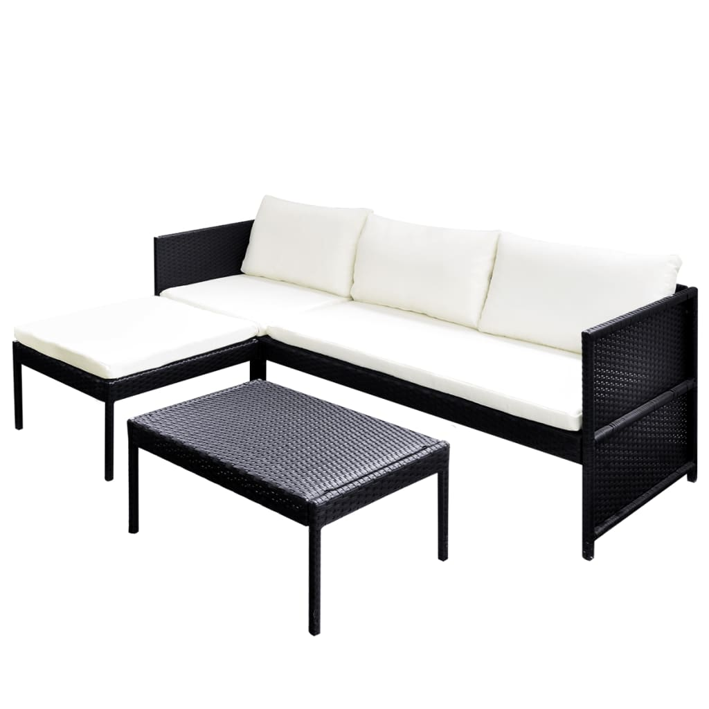 vidaxl black outdoor poly rattan lounge set three seat. Black Bedroom Furniture Sets. Home Design Ideas