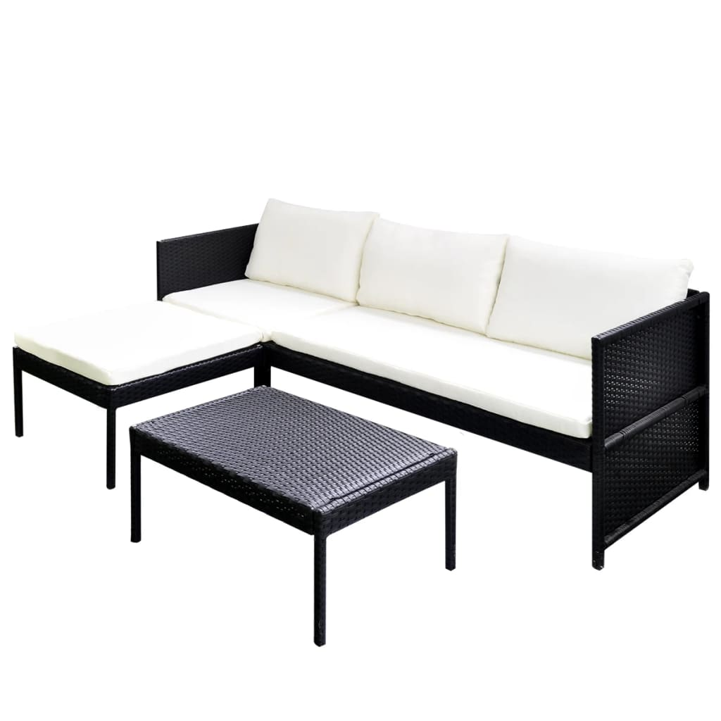 Black Outdoor Poly Rattan Lounge Set Three-Seat Sofa ...