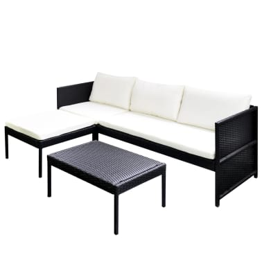 vidaXL Black Outdoor Poly Rattan Lounge Set Three-Seat Sofa[2/7]