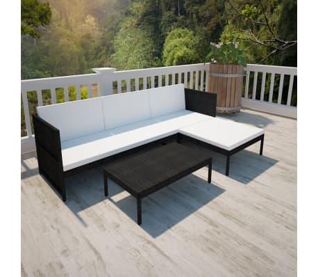 vidaXL Black Outdoor Poly Rattan Lounge Set Three-Seat Sofa