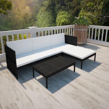vidaXL Black Outdoor Poly Rattan Lounge Set Three-Seat Sofa[1/7]