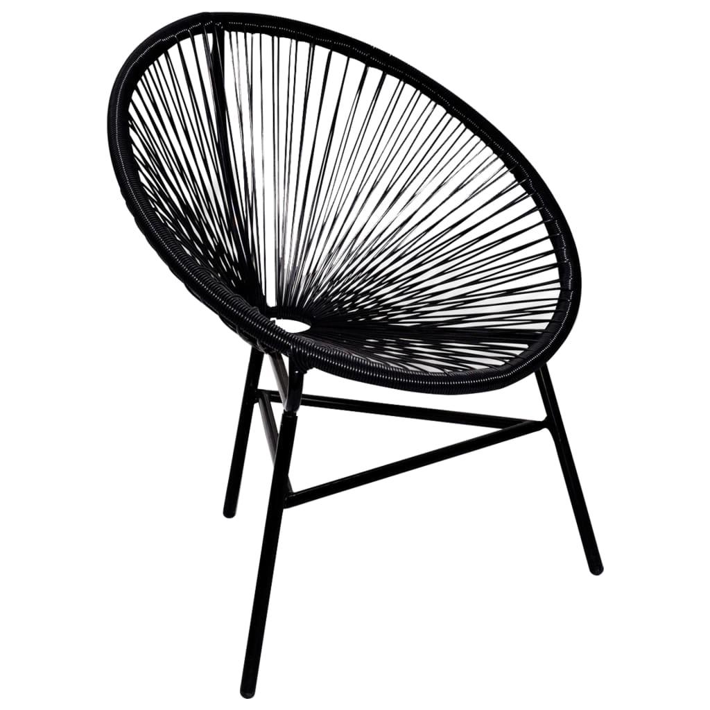 Noir / Blanc Chaise ovale en polyrotin pour salle à manger salon ...