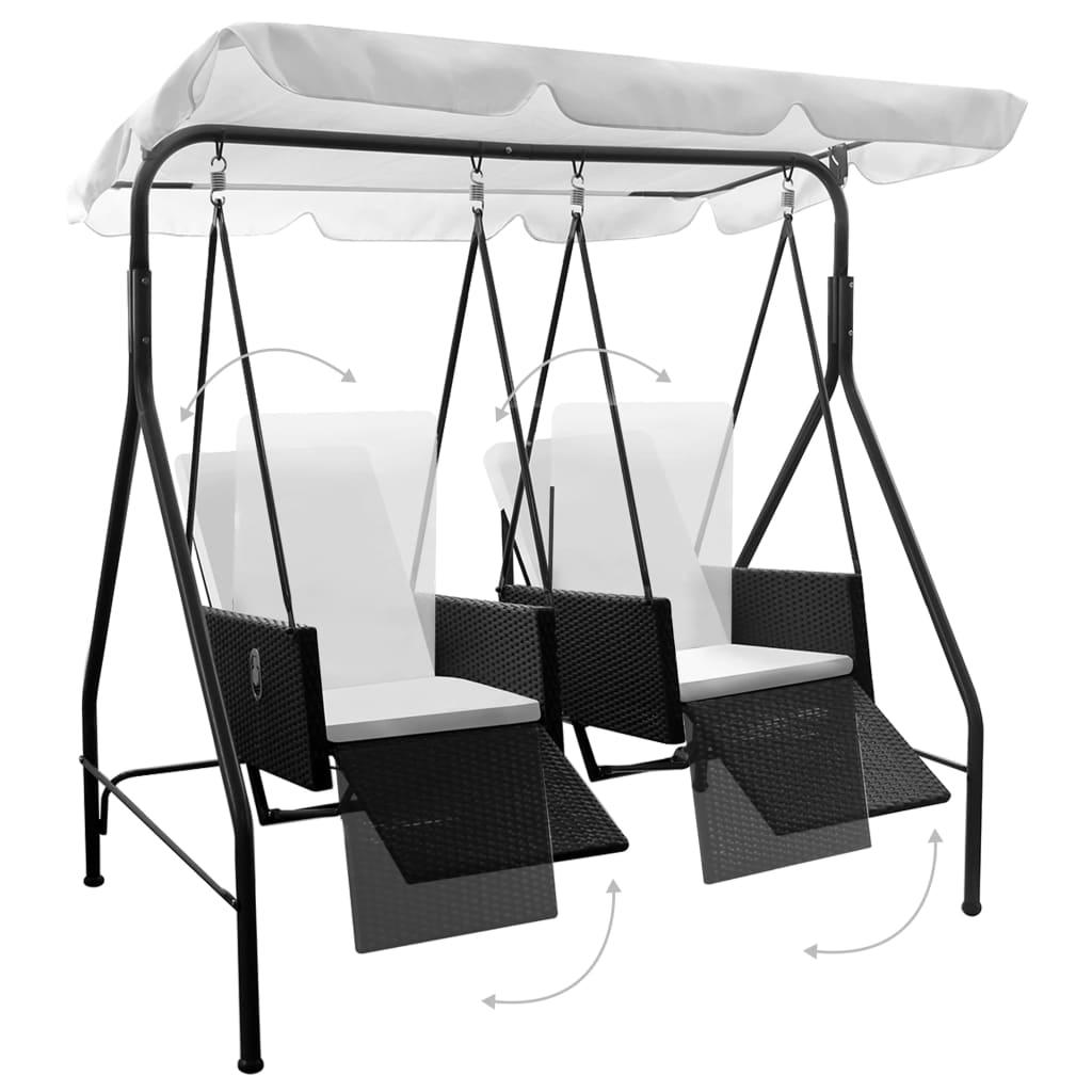 acheter balancelle noire 2 places avec fauteuils inclinables en ploryrotin pas cher. Black Bedroom Furniture Sets. Home Design Ideas