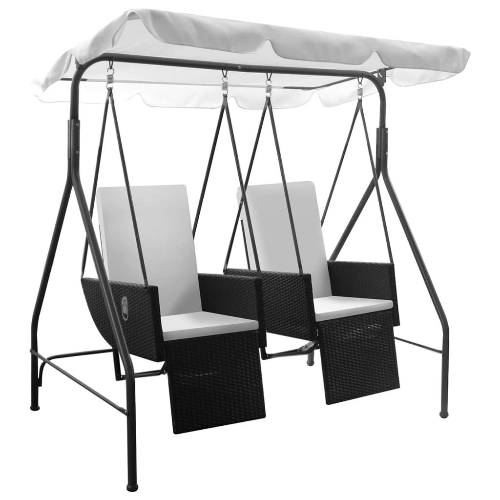 h ngesessel rattan schaukel mit 2 kissen schwarz g nstig kaufen. Black Bedroom Furniture Sets. Home Design Ideas
