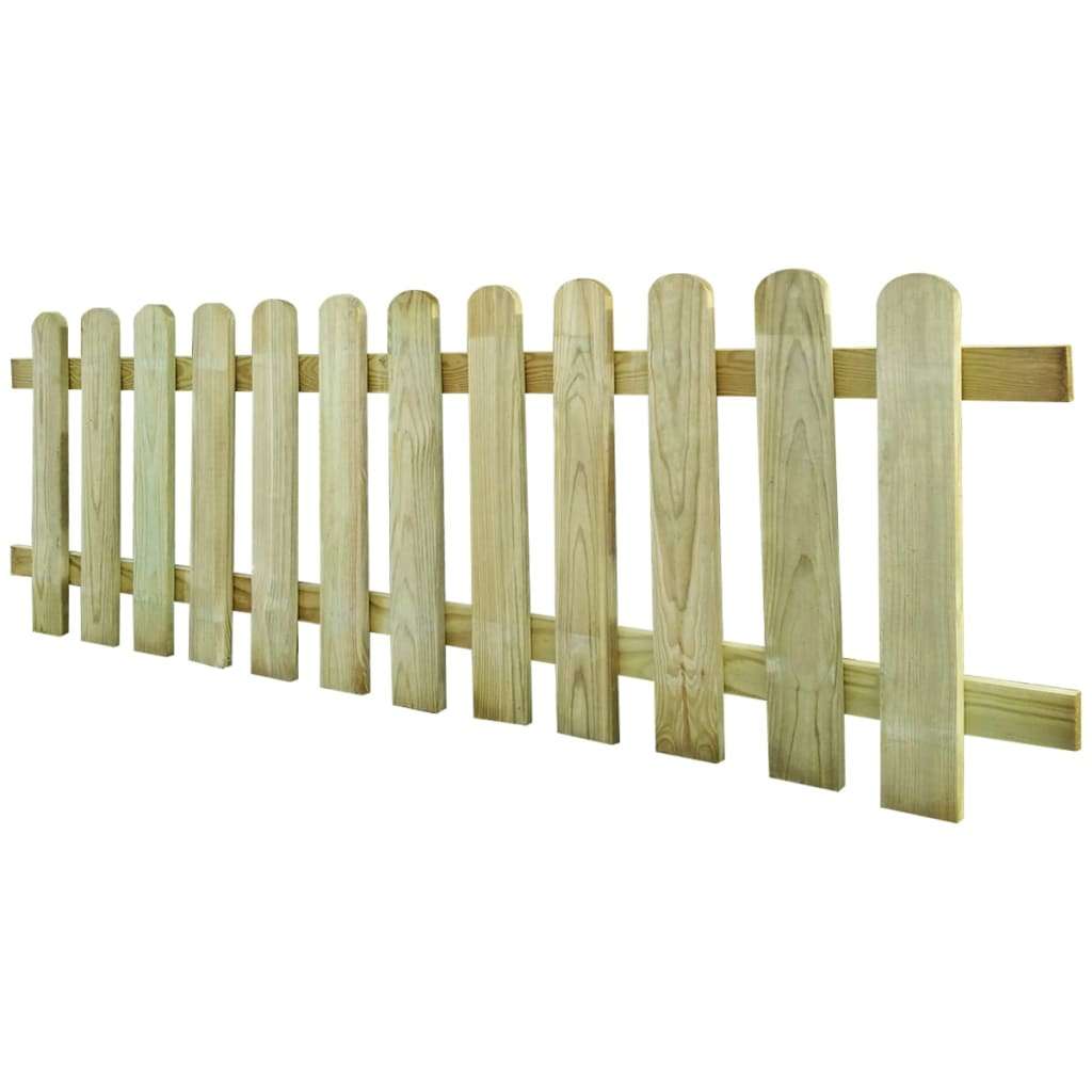 vidaXL Wood Picket Fence 200 x 60 cm