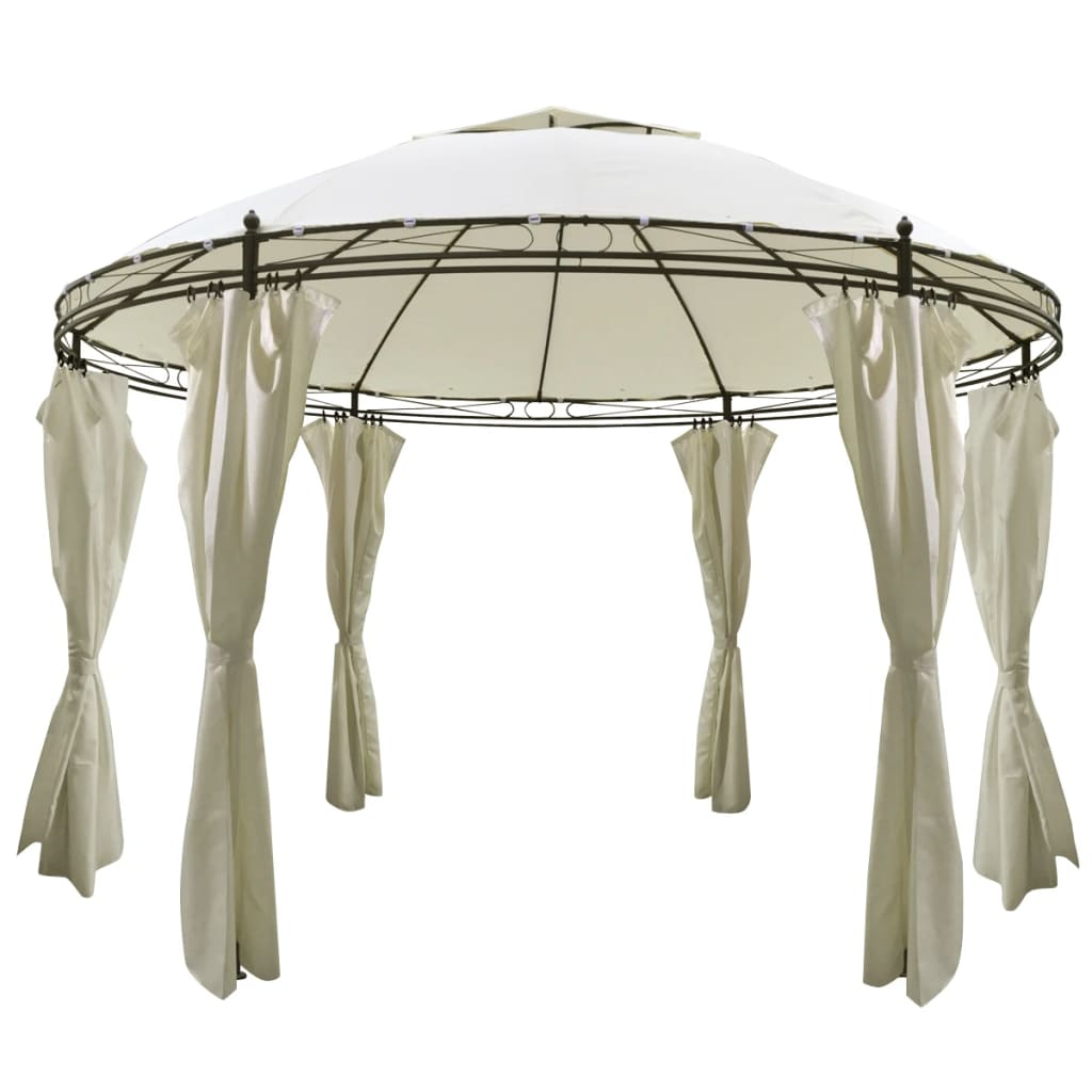 vidaxl round gazebo with curtains 11 39 5 39 39 x 8 39 9 39 39. Black Bedroom Furniture Sets. Home Design Ideas