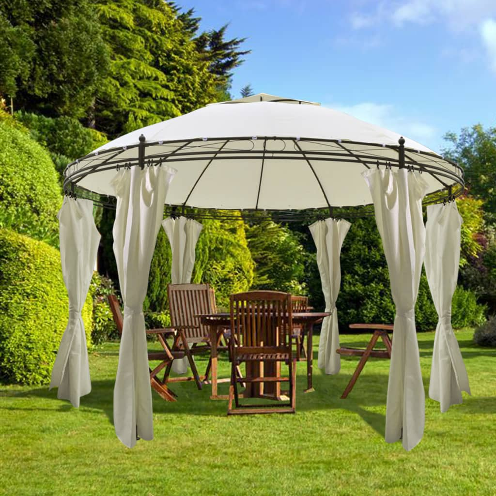 Vidaxl Round Gazebo With Curtains 11 5 X 8 9
