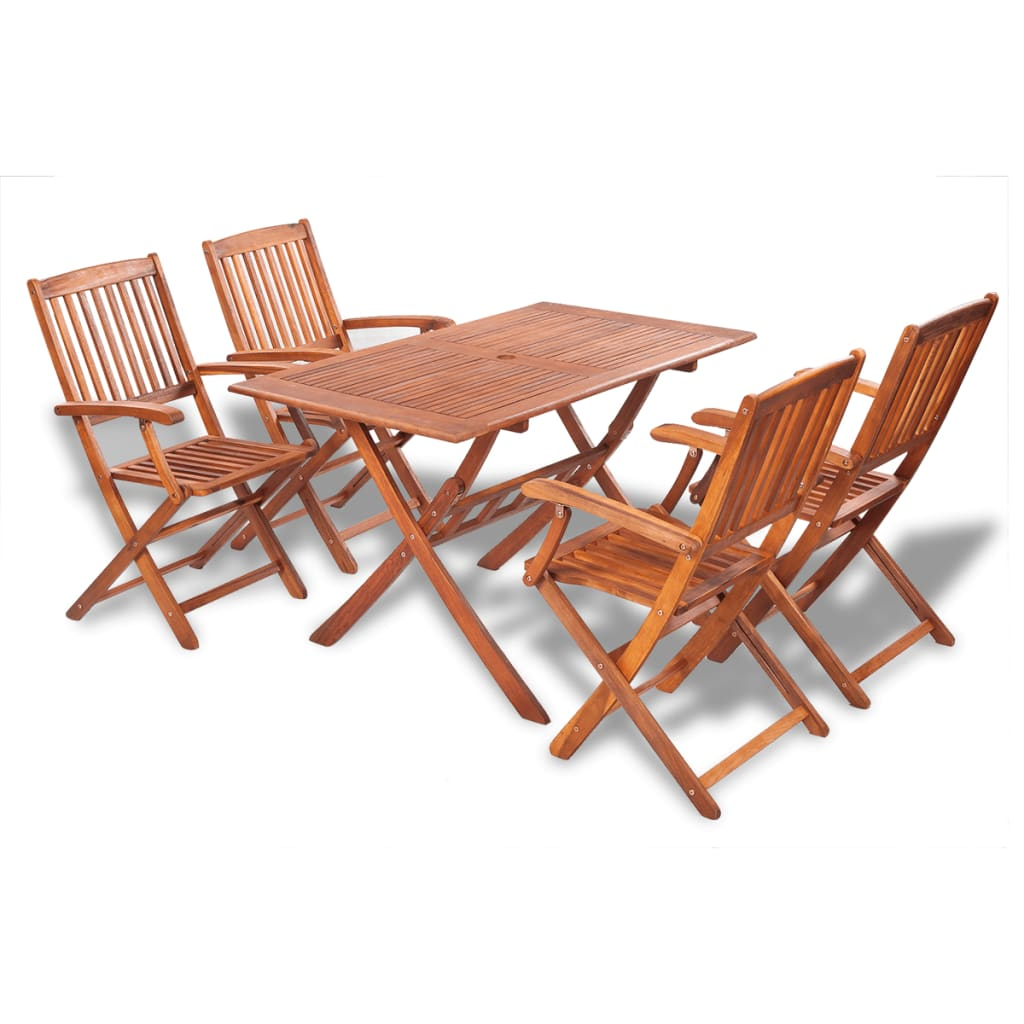 Vidaxl wooden outdoor dining set 4 chairs 1 rectangle for Wooden dining table chairs