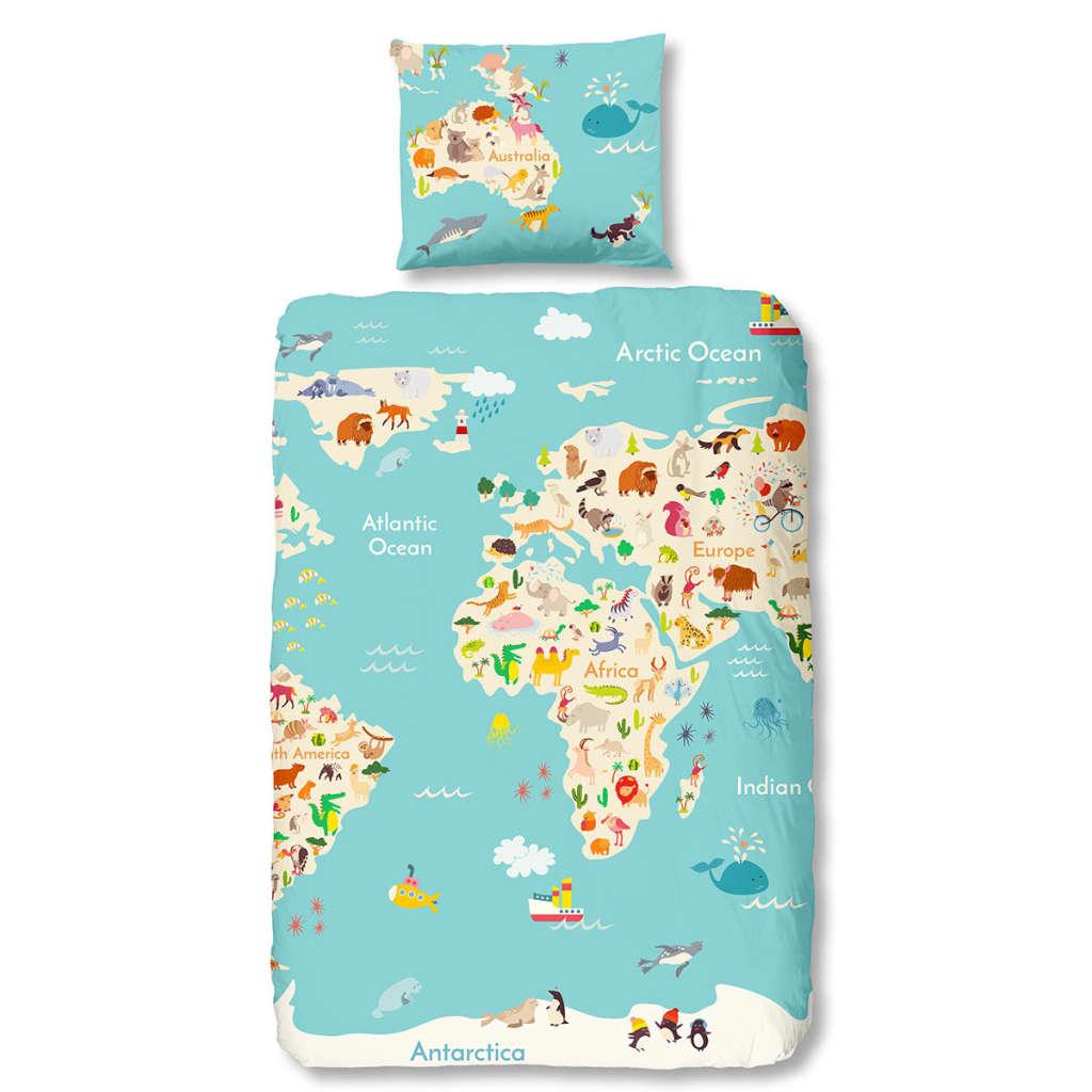 Acheter good morning housse couette 5739 p world map - Housse de couette multicolore ...