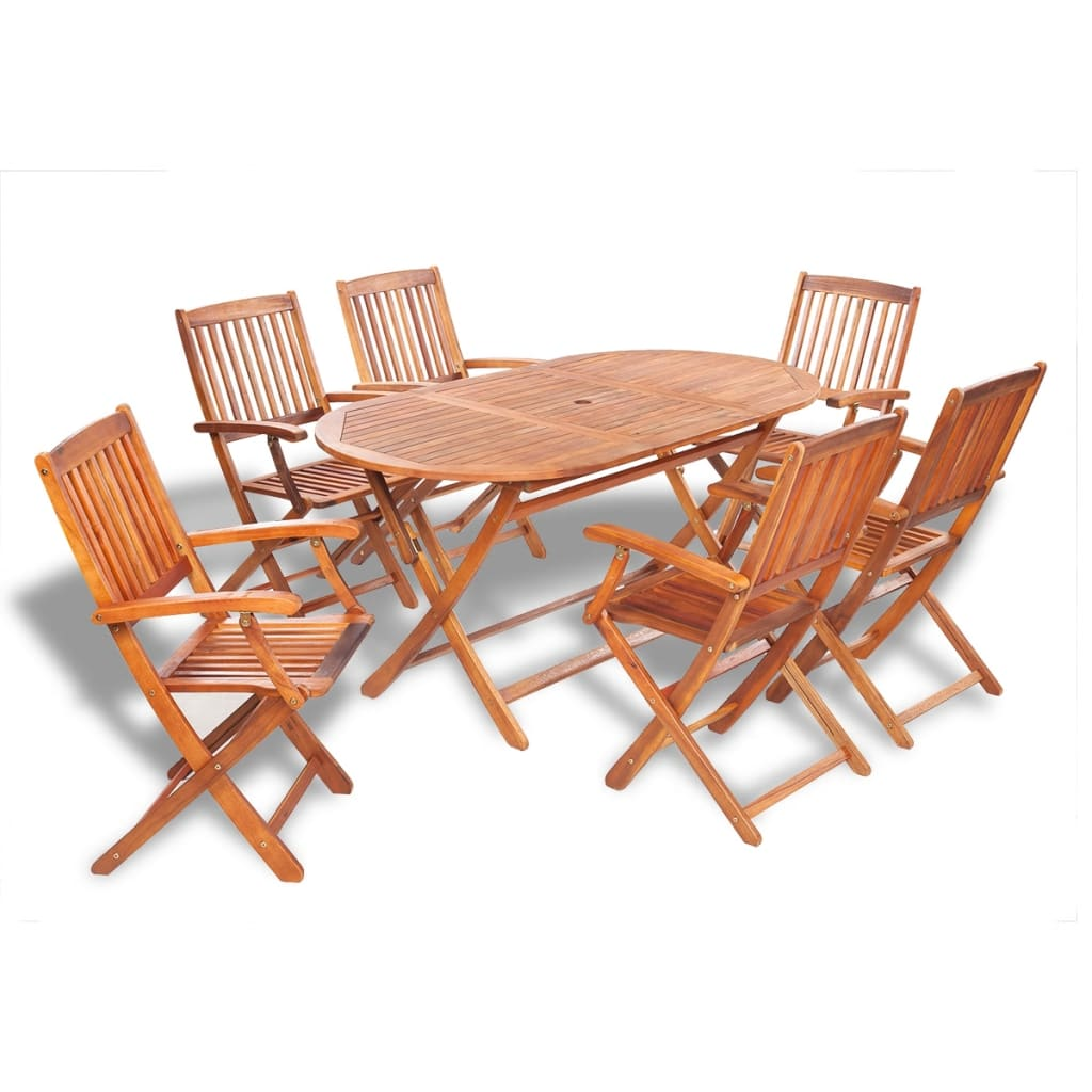 Vidaxl wooden outdoor dining set 6 chairs 1 oval table for Ensemble table chaise bois