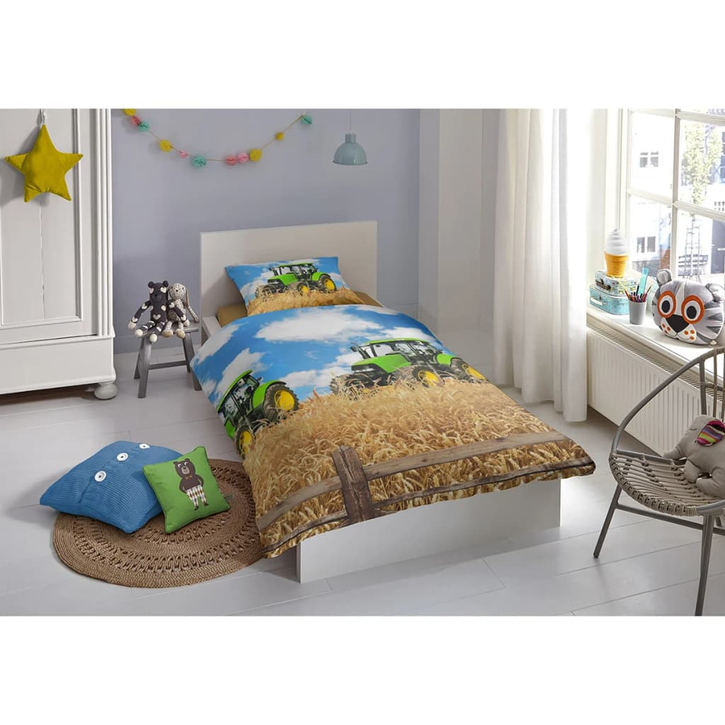 acheter good morning housse de couette 5604 a farmer 140x200 220cm multicolore pas cher. Black Bedroom Furniture Sets. Home Design Ideas
