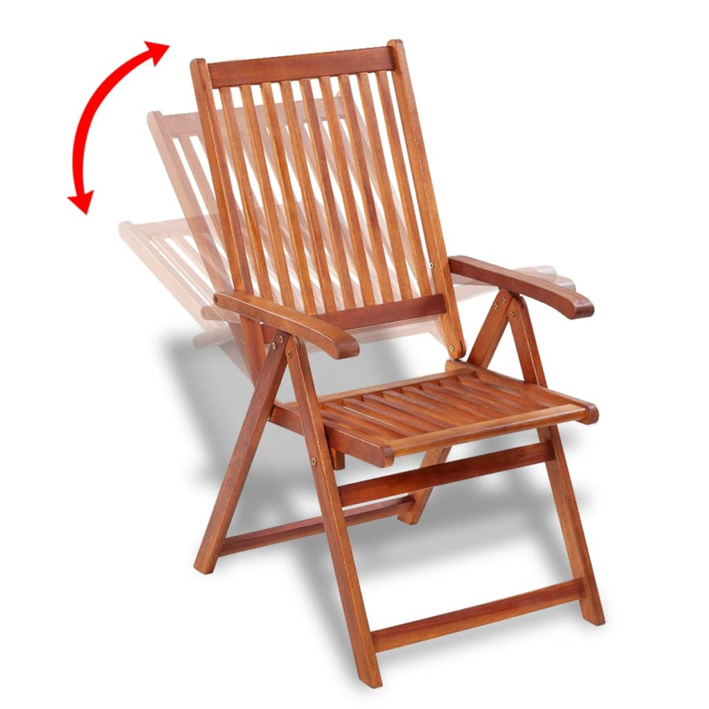 Vidaxl wooden outdoor dining set 6 adjustable chairs 1 for Outdoor table chair set