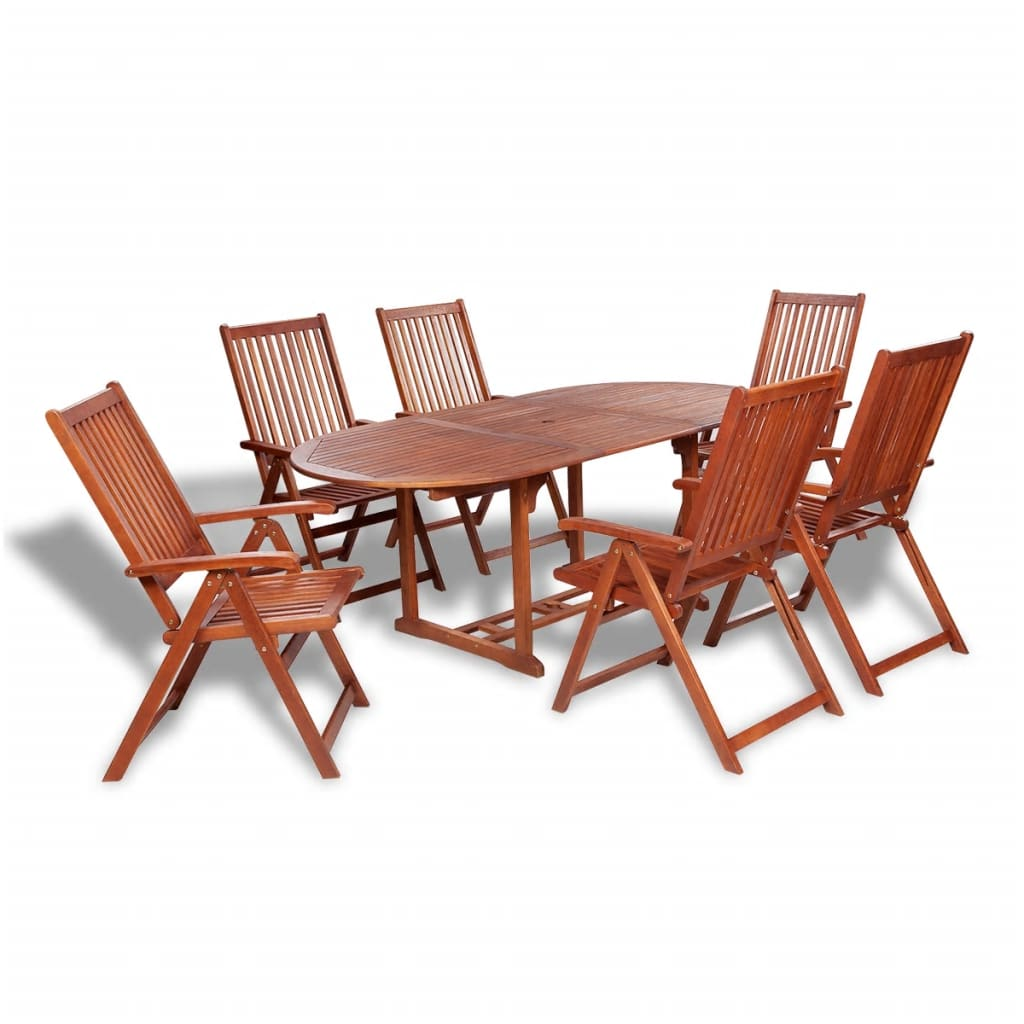 Wooden Outdoor Dining Set 6 Adjustable Chairs 1 Extension Table