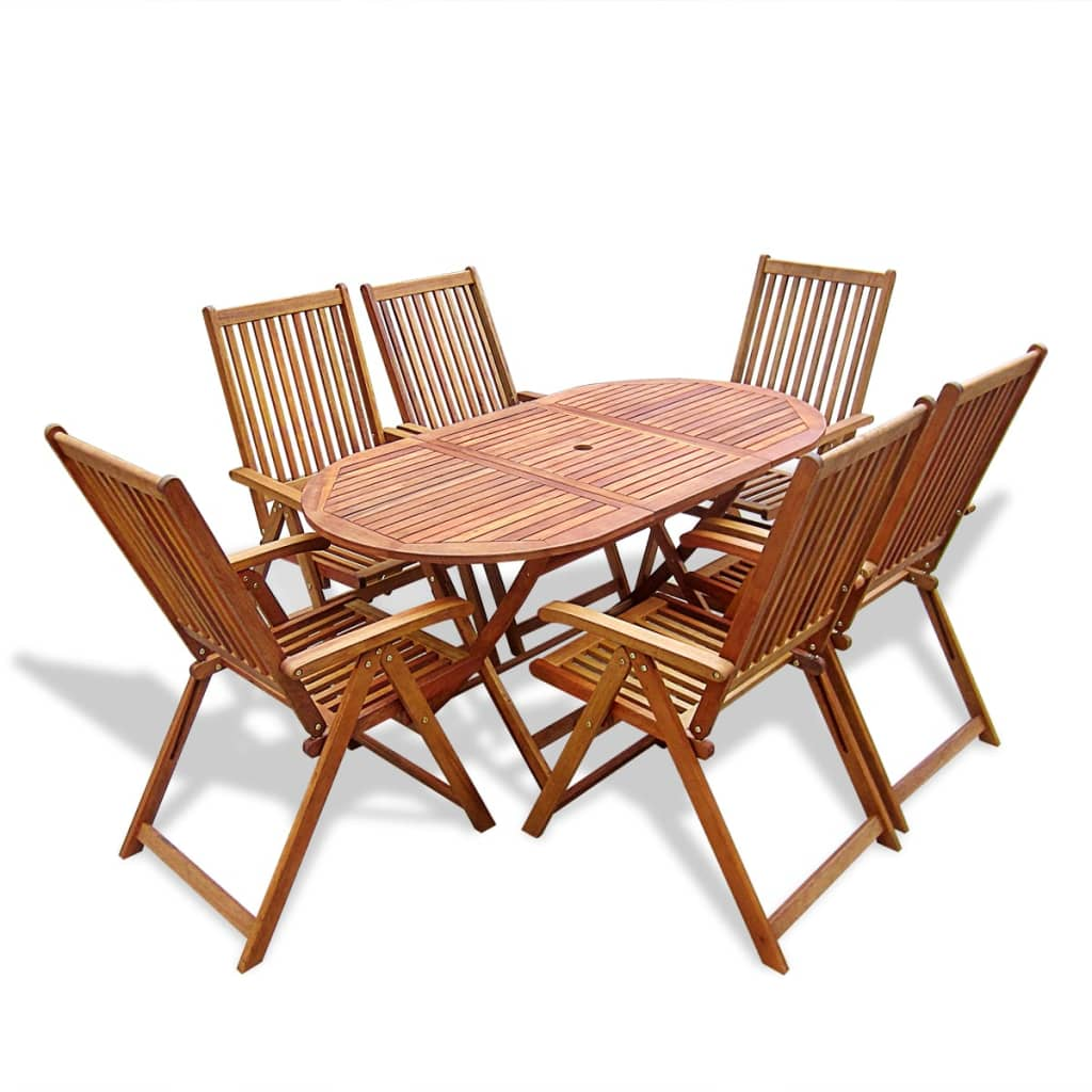 Vidaxl wooden outdoor dining set 6 adjustable chairs 1 for Wooden dining table chairs