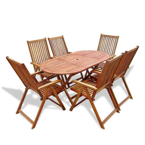 New Wooden Outdoor Dining Set 6 Adjustable Chairs 1 Oval Table