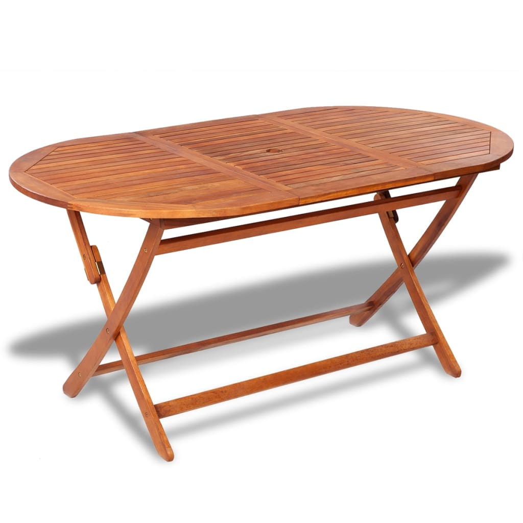 Oval wooden outdoor dining table for Table chaise exterieur