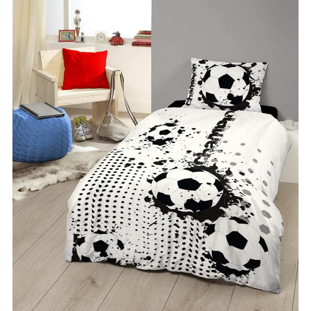 acheter good morning housse de couette 5244 p soccer 140x200 220cm noir blanc pas cher. Black Bedroom Furniture Sets. Home Design Ideas