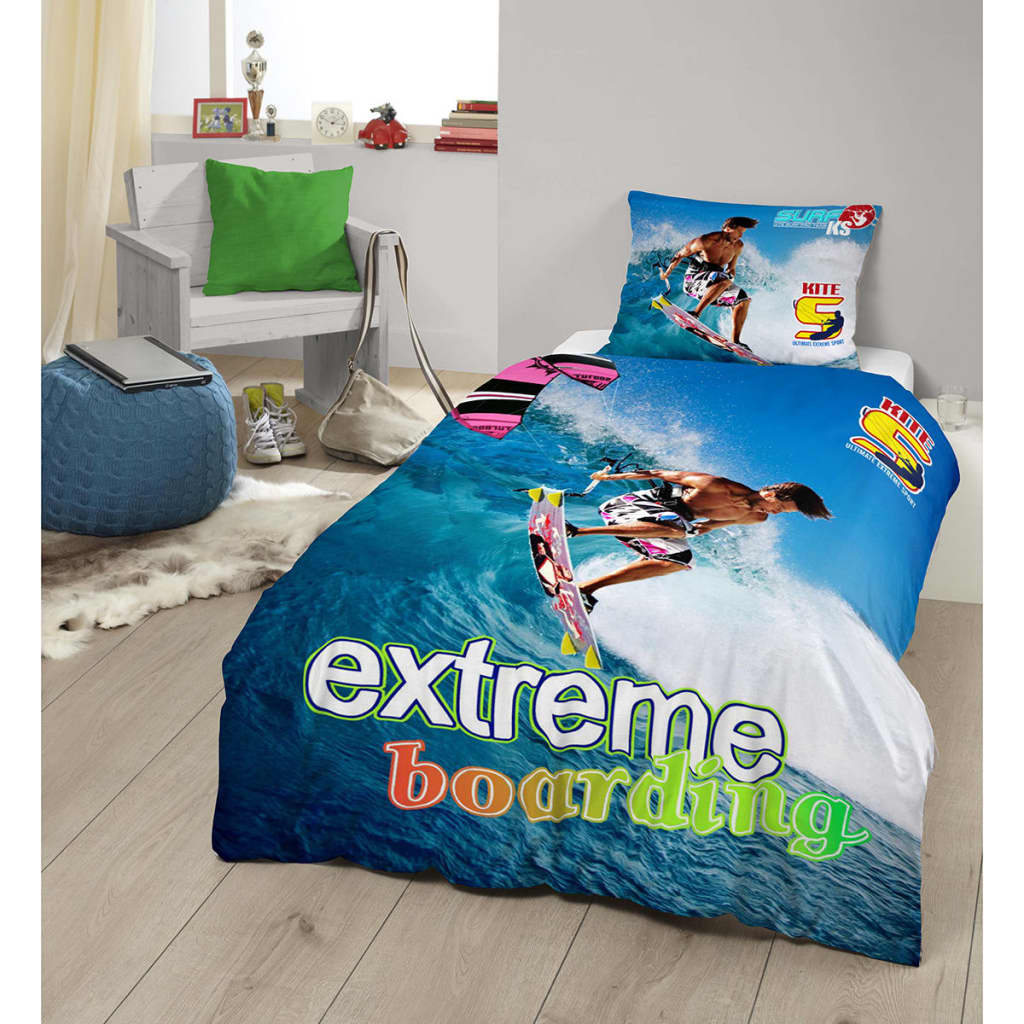 acheter good morning housse de couette 4666 p kitesurfing 140x200 220 cm multicolore pas cher. Black Bedroom Furniture Sets. Home Design Ideas