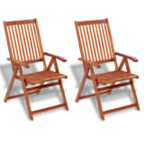 2 Wooden Folding Chairs with 5 Positions