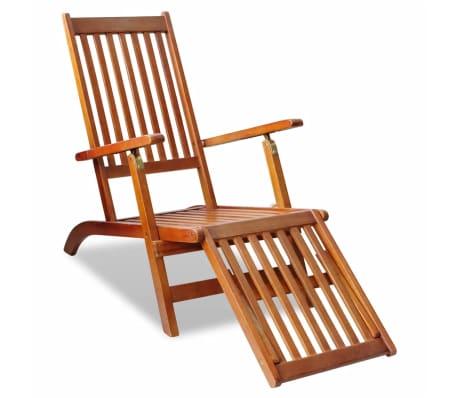 Chaise longue d 39 ext rieur en acacia avec repose pied for Chaise longue en bois avec repose pied