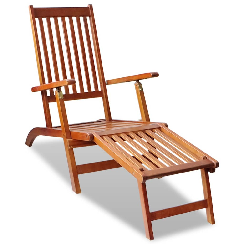 outdoor deck chair with footrest acacia wood. Black Bedroom Furniture Sets. Home Design Ideas
