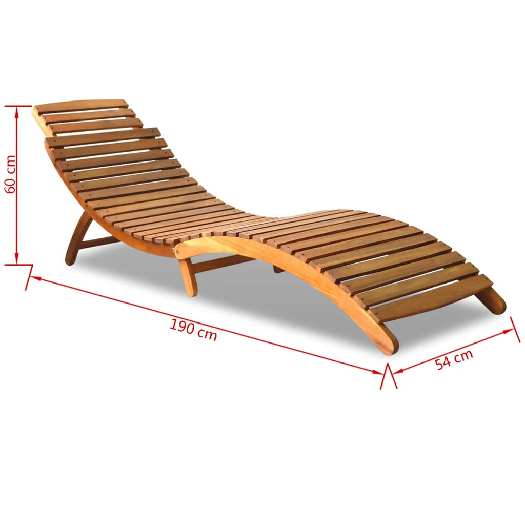 Outdoor foldable sun lounger acacia wood for Chaise longue jardin en bois