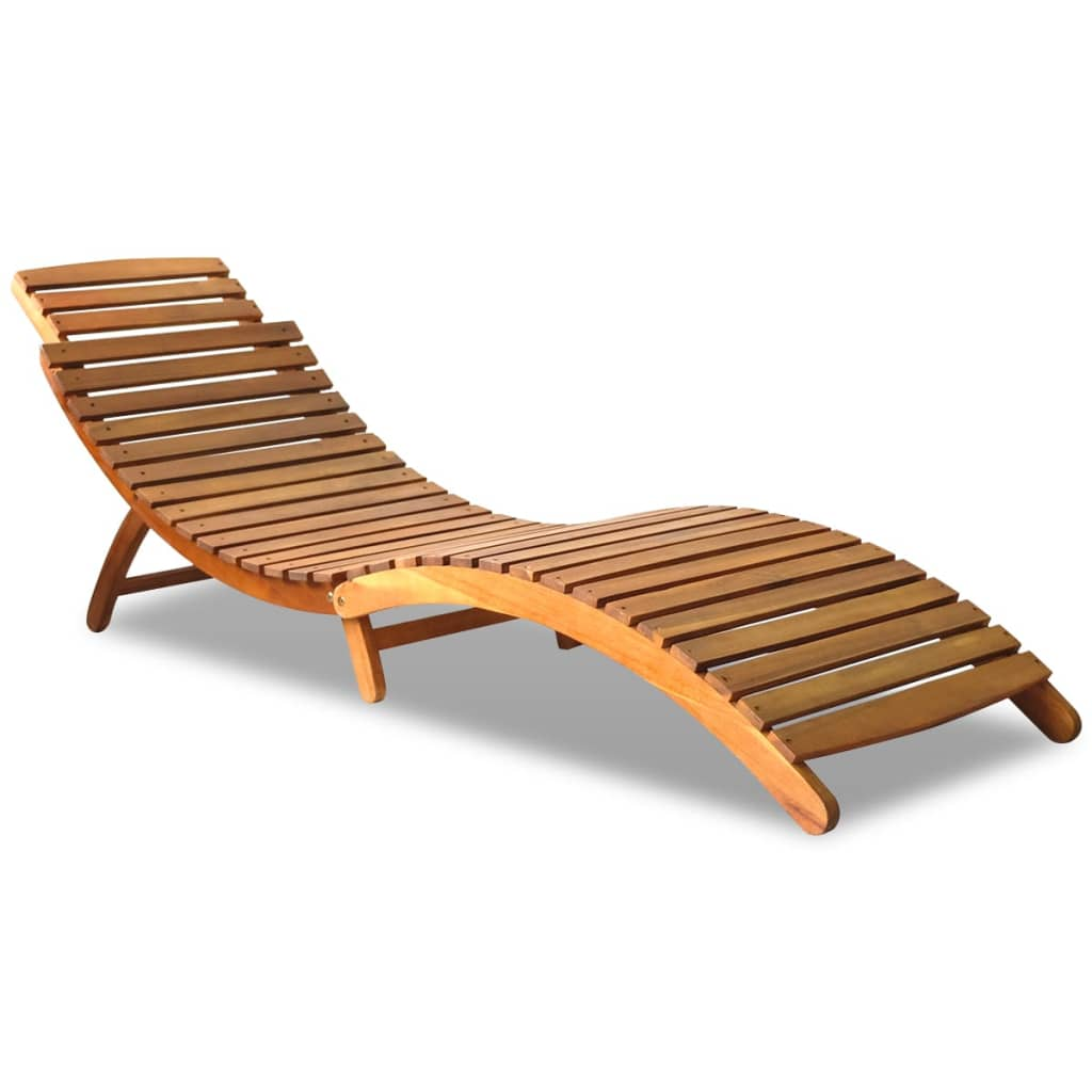 Outdoor foldable sun lounger acacia wood for Chaise bain de soleil pliante