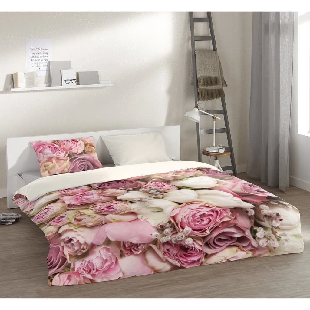 acheter pure housse de couette 5140 m roses 200x200 220 cm. Black Bedroom Furniture Sets. Home Design Ideas