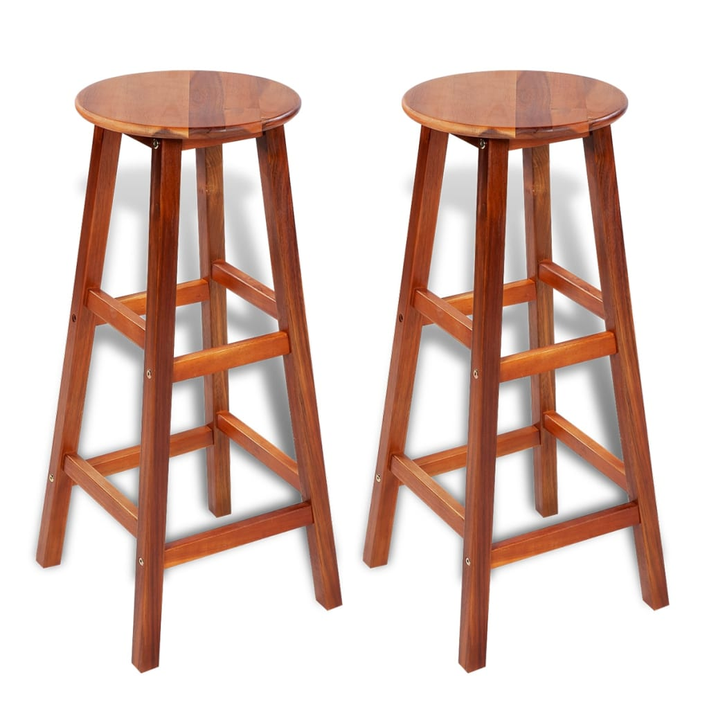 2 Pcs Wooden Bar Stool Set