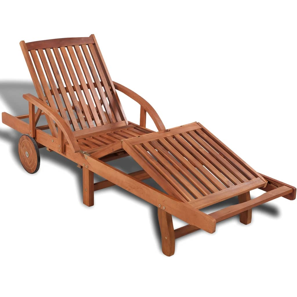 wooden 5 position adjustable sun lounger