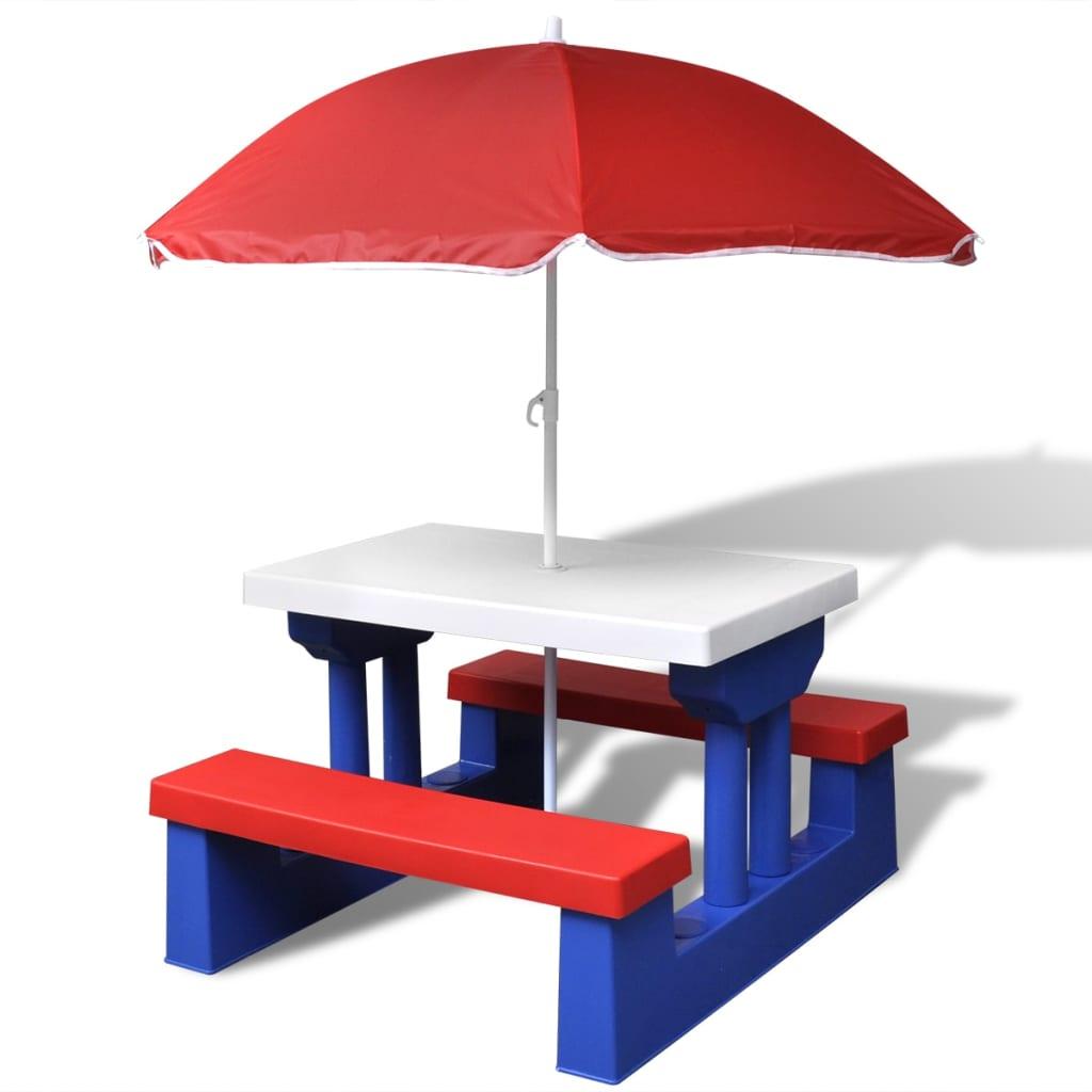 vidaXL Gyerekek piknik asztal esernyővel
