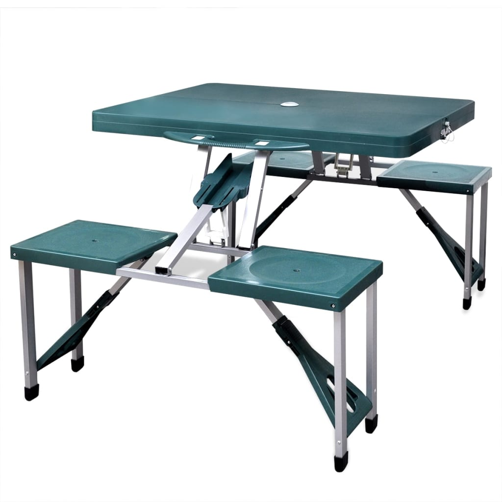 foldable camping table set with 4 stools aluminium extra light green. Black Bedroom Furniture Sets. Home Design Ideas