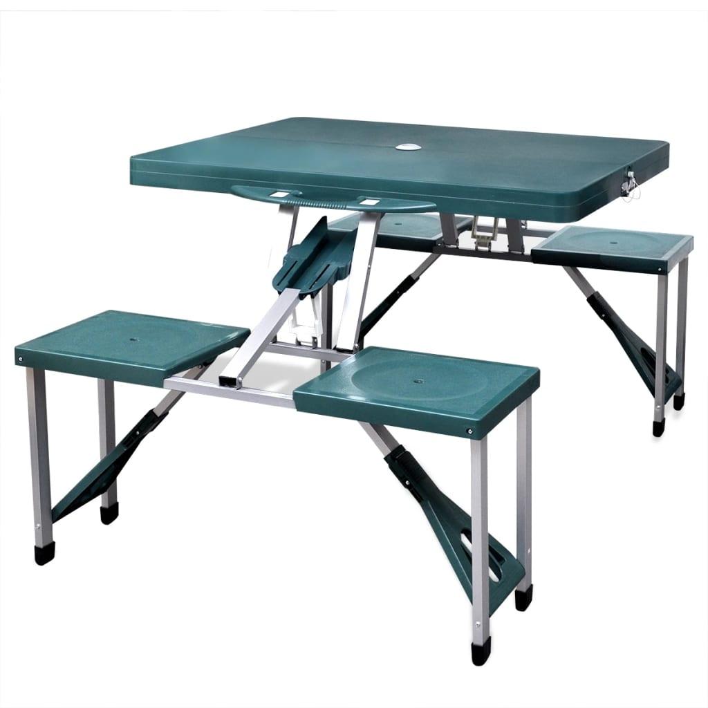 vidaXL Összecsukható kemping asztal készlet 4 alumínium szék világos zöld