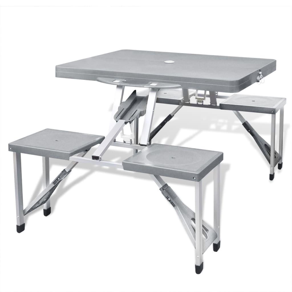 Hopfällbart campingbord med 4 stolar i aluminium ljusgrått