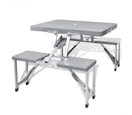 Foldable Camping Table Set with 4 Stools Aluminum Extra Light Gray