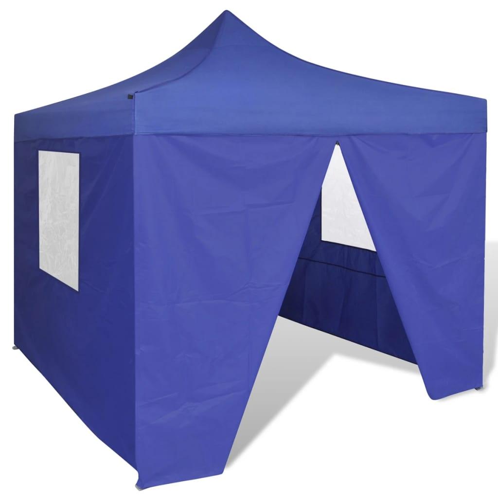 vidaXL kék összecsukható pavilon 4 fallal 3 x m