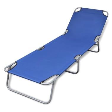 Klappbare Sonnenliege mit einstellbarer Rückenlehne blau[1/5]