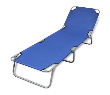 Klappbare Sonnenliege mit einstellbarer Rückenlehne blau