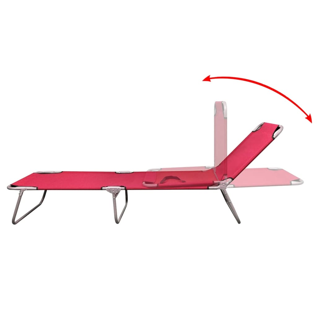 Foldable Sun Lounger With Adjustable Backrest Red Vidaxl