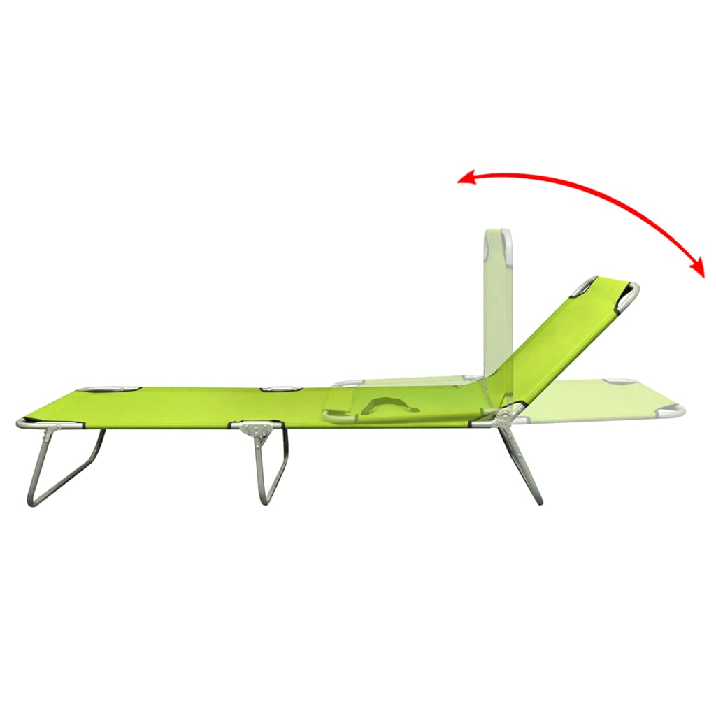 Foldable Sun Lounger With Adjustable Backrest Apple Green