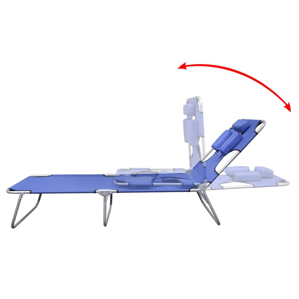 klappbare sonnenliege mit kopfkissen einstellbarer r ckenlehne blau g nstig kaufen. Black Bedroom Furniture Sets. Home Design Ideas