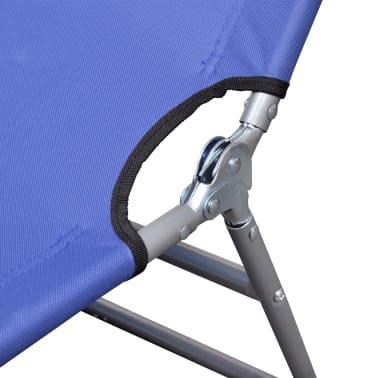 Klappbare Sonnenliege mit Kopfkissen einstellbarer Rückenlehne blau[5/7]