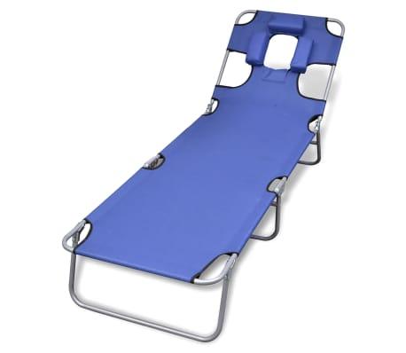 Klappbare Sonnenliege mit Kopfkissen einstellbarer Rückenlehne blau