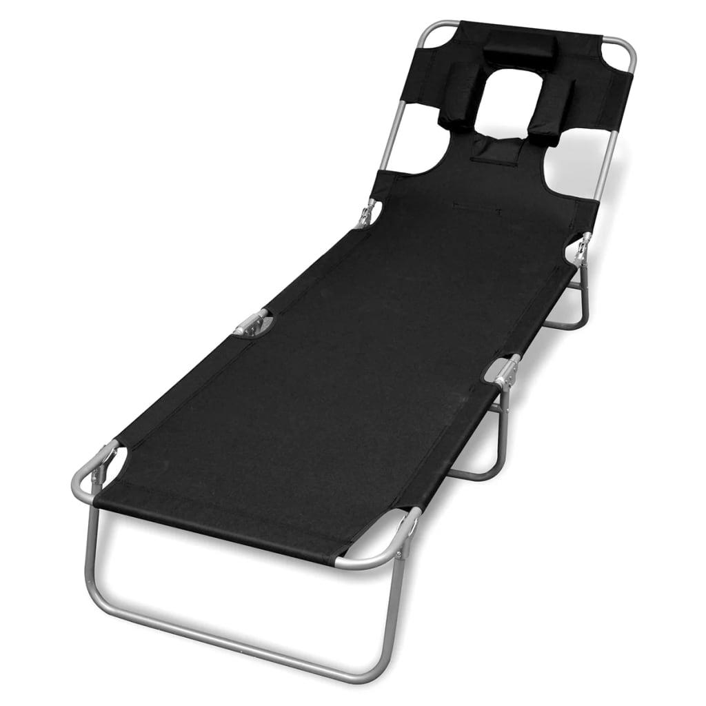 chaise longue pliable avec t te coussin et dossier ajustable noire. Black Bedroom Furniture Sets. Home Design Ideas